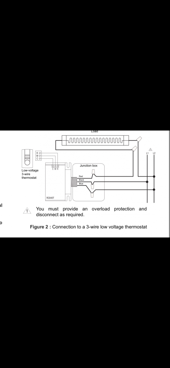 wiring low voltage thermostat on profusion electric heater. Black Bedroom Furniture Sets. Home Design Ideas