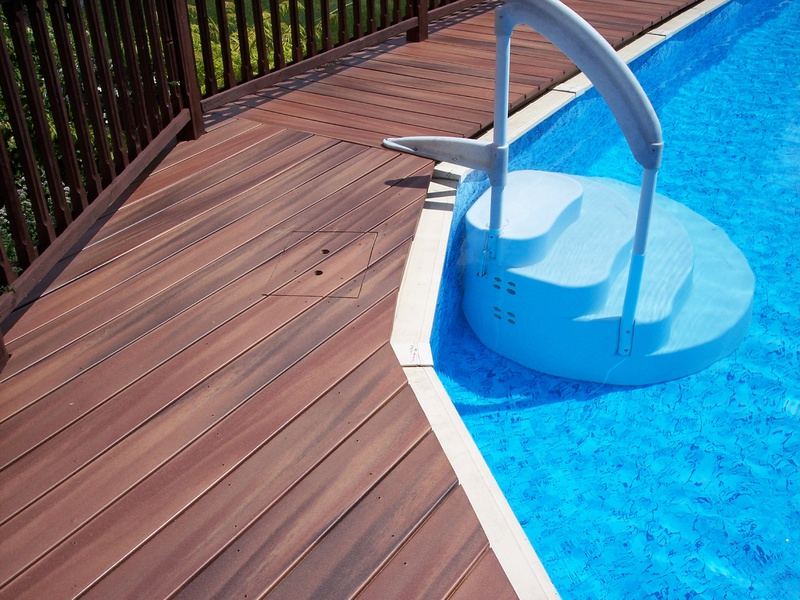 Building deck around above ground pool building for How to build a deck around a pool