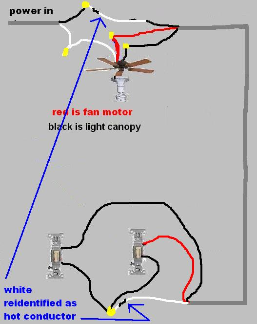 2 White  1 Black  Ceiling Fan Wiring - Electrical