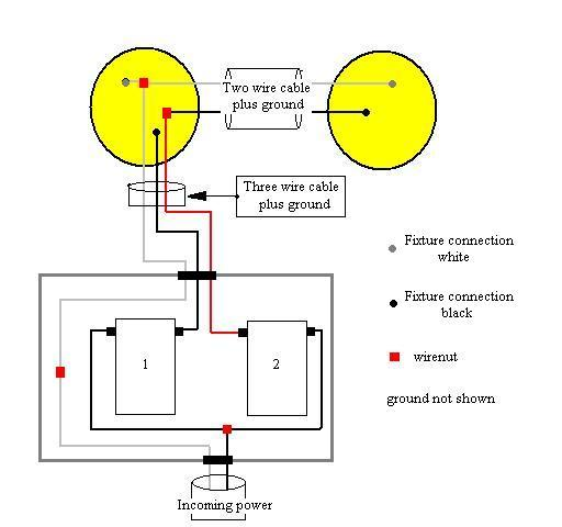 2 lights 2 switches new construction electrical diy chatroom rh diychatroom com 2 lights 2 switches wiring diagram 2 Lights 2 Three-Way Switches
