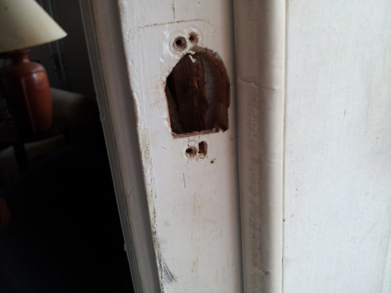 How do I fill in the hole for the latch in a doorjamb?-20131129_150437.jpg
