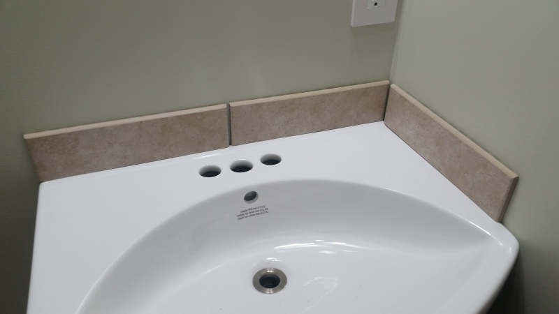 Add A Small Tile Backsplash On Bathroom Vanity Sink 20170528 191549 Jpg