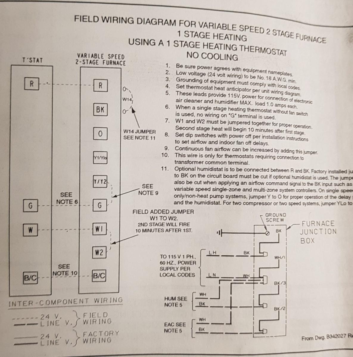 Trane Xv80 - Single Stage Heating Only Wiring - Hvac