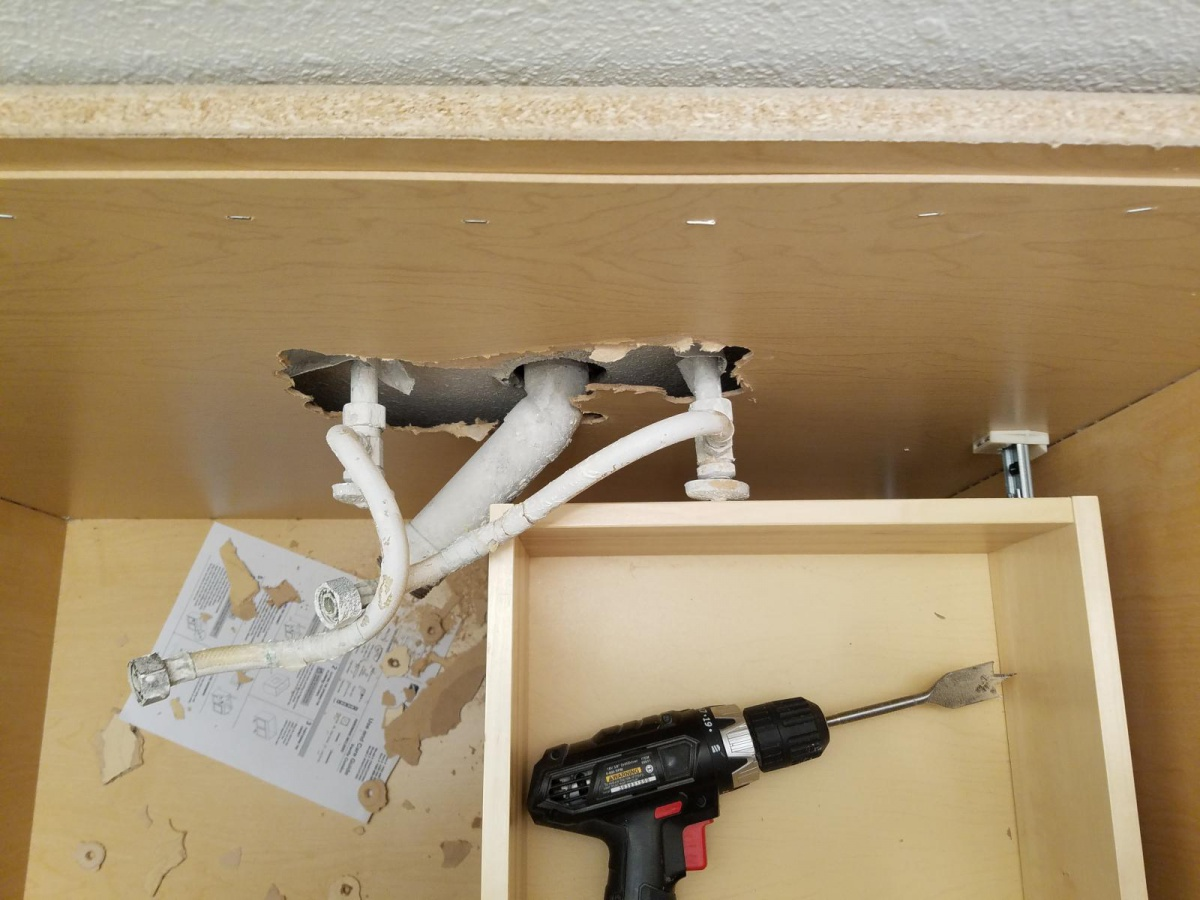 Can someone suggest a workaround to adding a new Bath Vanity/sink? P trap hits shelf!-20180130_175906_1517361385457.jpg
