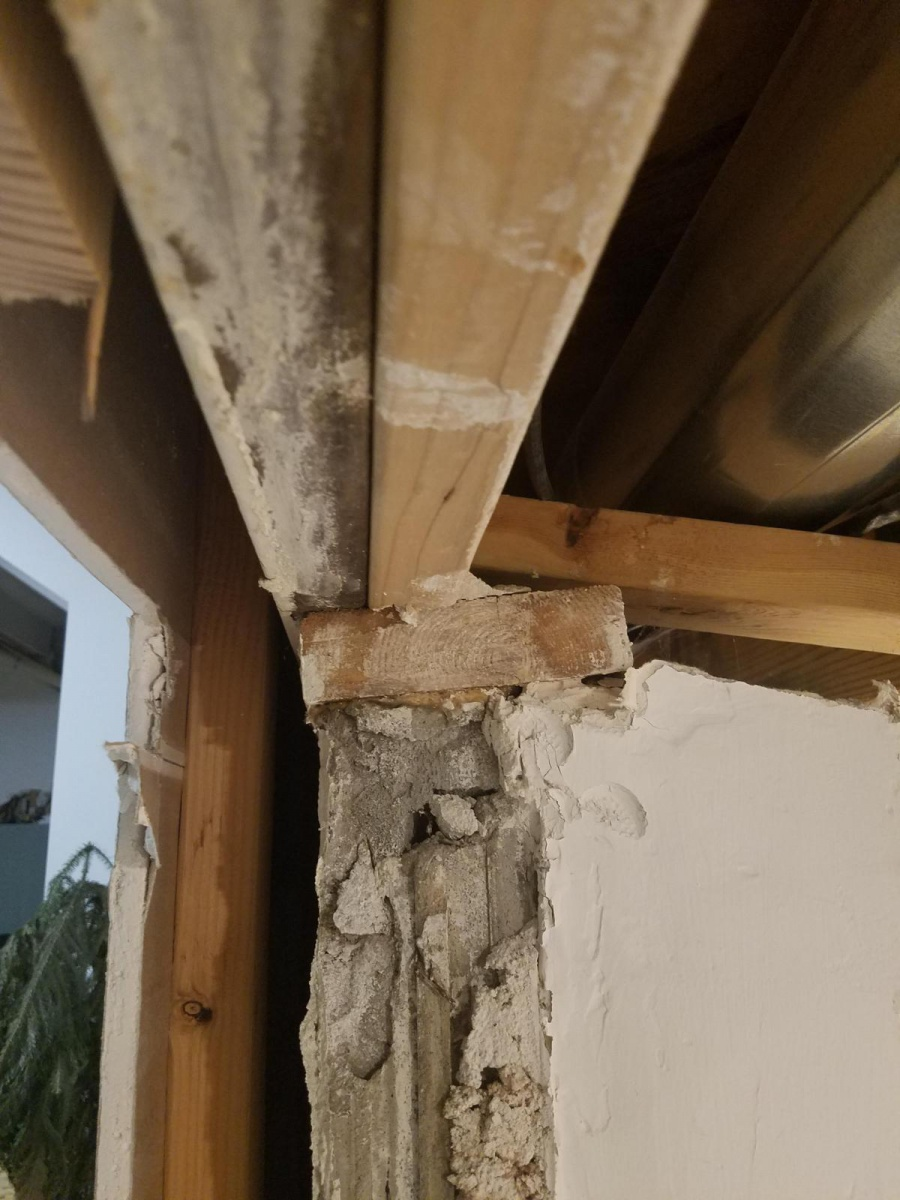 Removing block wall sections and using header at rim board-20180409_234651_1523336284236.jpg
