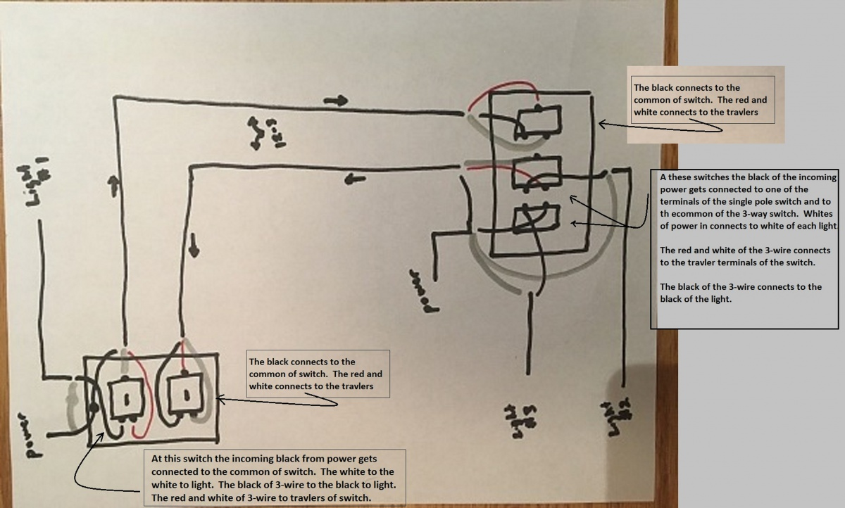 Way Switch Diagram Power To Light How To Wire A Threeway Switch The