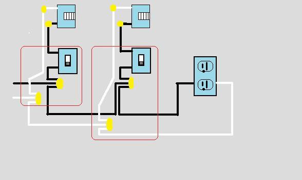 wiring two lights on separate switches then outlets electrical rh diychatroom com 3 Switches One Light Light Fixtures and Switch Schematics