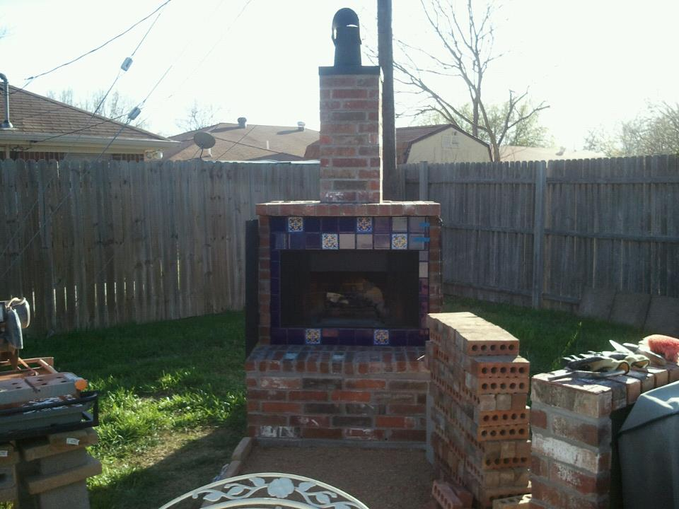 Outdoor Masonry Fireplace Chimney Flue Help Concrete