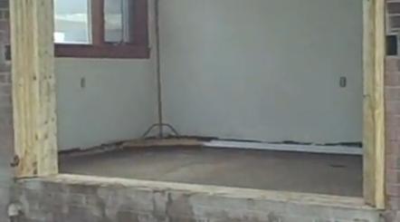 Patio Door Bottom Sill Over Brick Concrete Block