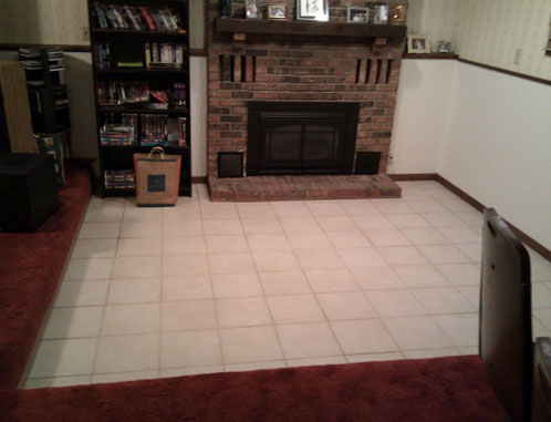 Raise Sunken Living Room With Fireplace Flooring Diy