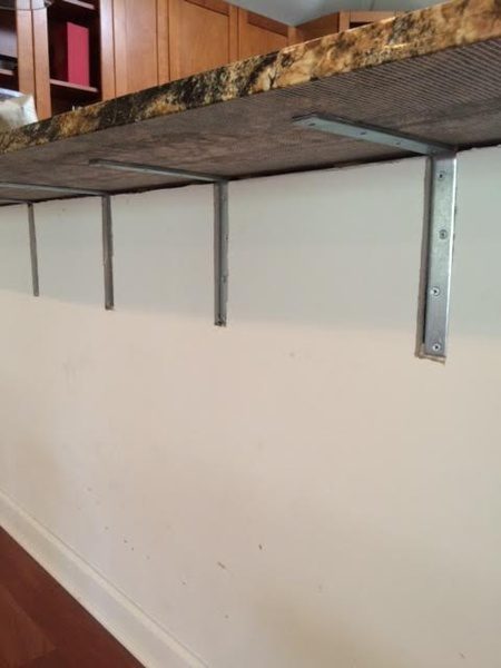 Granite supports on breakfast bar drywall repair for Knee wall support