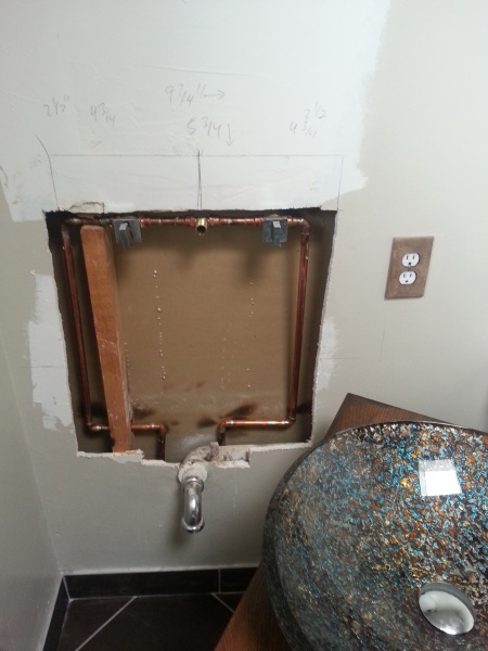 Sink Attached To Wall : To Install A Shutoff Valve On Wall Mounted Sink? Pictures Attached ...