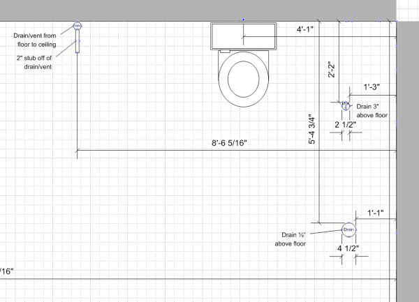 trying to figure out layout in roughed in basement bathroom rh diychatroom com basement bathroom drain layout basement bathroom drain layout