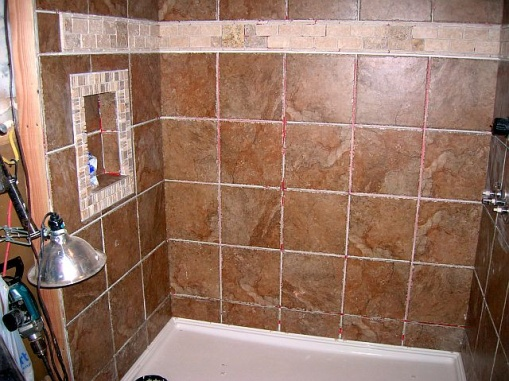 Awesome Large Porcelain Tiles For Shower Walls Before Grout 001 ...