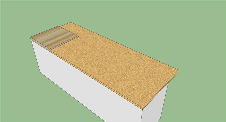 Any ideas on how to match height of two surface counterop?-blockandunderlayment.jpg