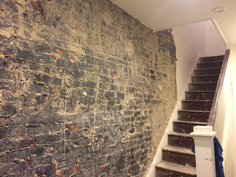 removing tar from interior exposed brick wall concrete stone