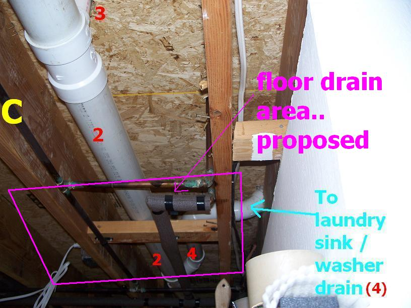 First Floor Laundry Room Floor Drain Install Plumbing
