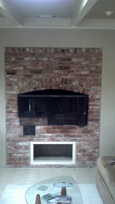 Brick fireplace how to tile over it concrete stone masonry diy chatroom home - Tile over brick fireplace ...