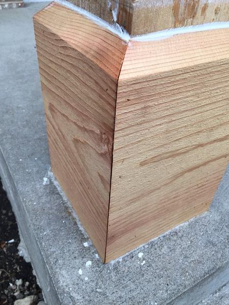 Wood Filler Plywood ~ Gaps in cedar porch column caulk or filler painting