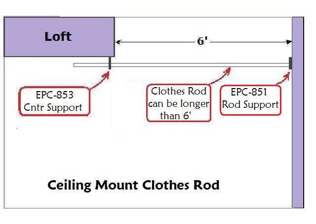 Ceiling Mounted Clothes Rod (one Side Wall Mount, One Side Ceiling Mount)
