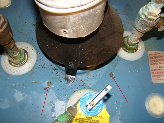 rheem gas hot water heater. leaking from top - rheem gas hot water heater-close-up-view- heater