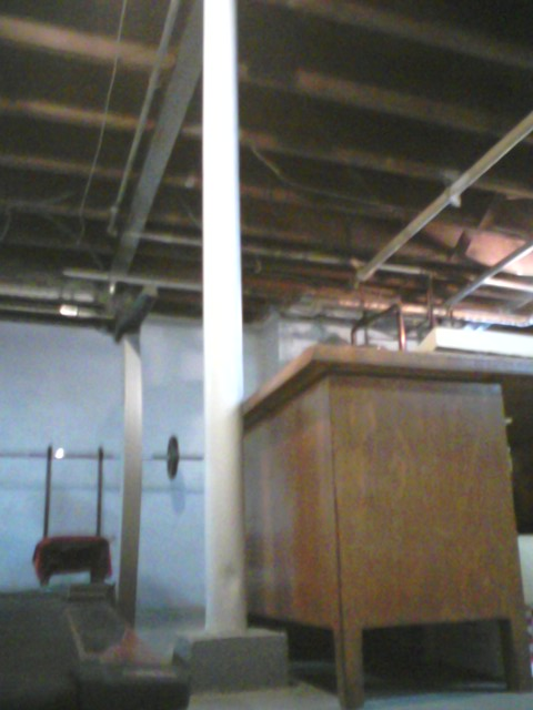 Installing an electrical recepticle on a basement structural support post-column.jpg