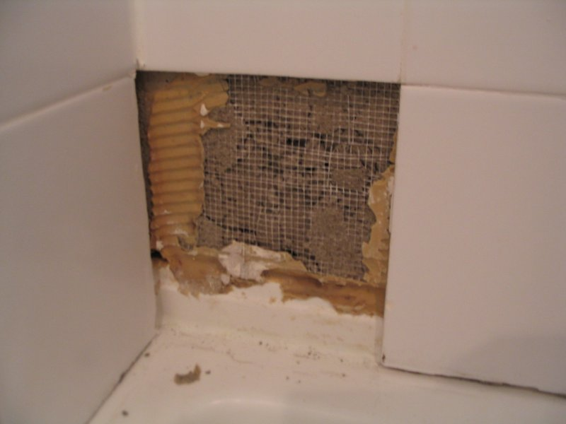 Damaged Backer Board During Shower Tiler Removal, Repairable ...