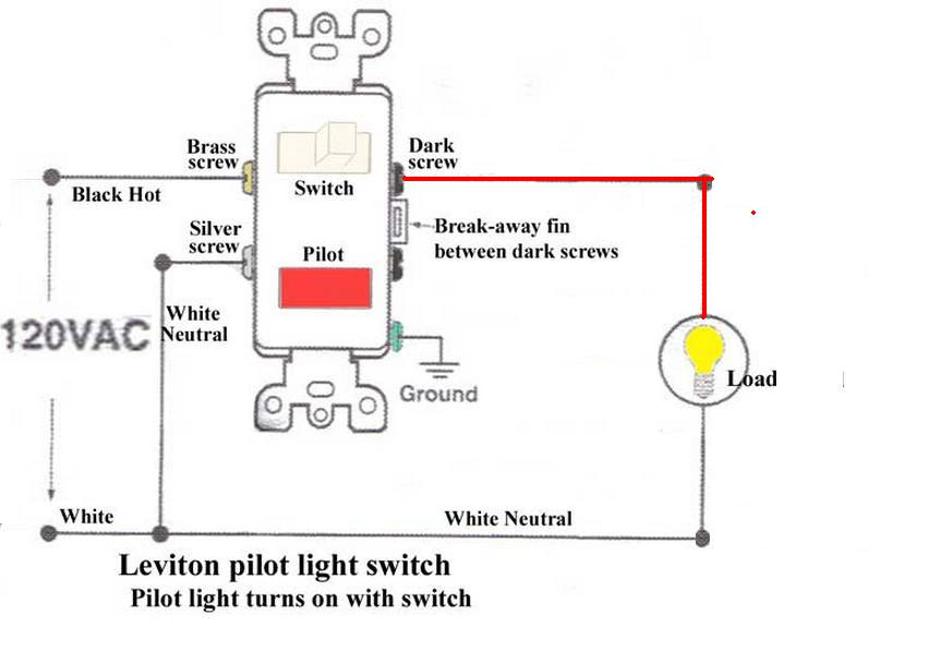 how to wire a switch with a pilot light electrical diy chatroom rh diychatroom com wiring a light switch with neon indicator Wall Light Switch with Indicator