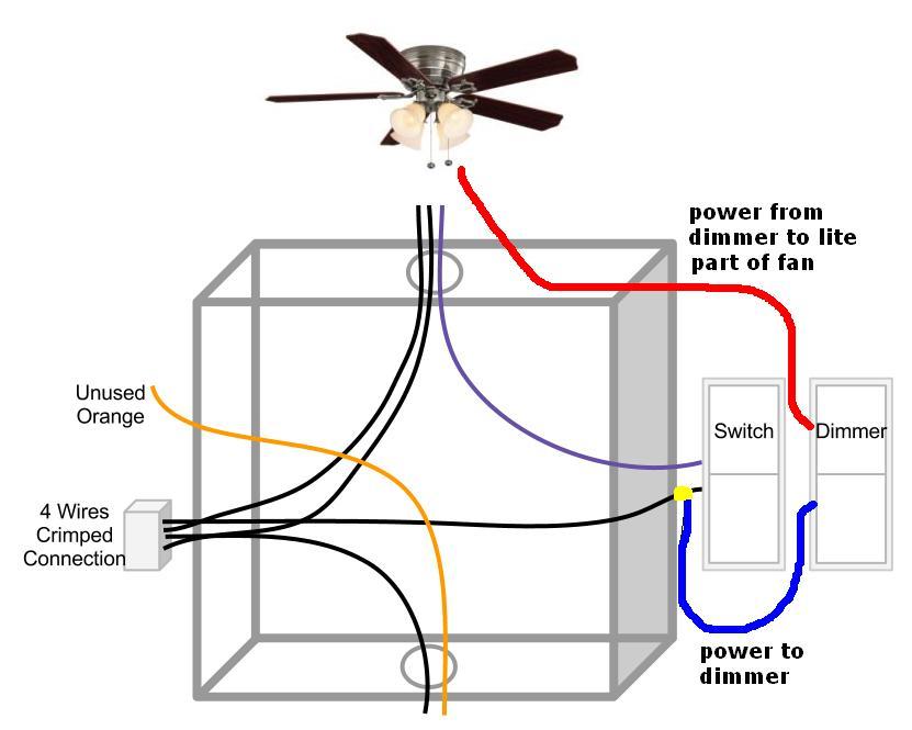 Ceiling Fan - Light On Dimmer Switch  Fan On Normal Switch - Electrical