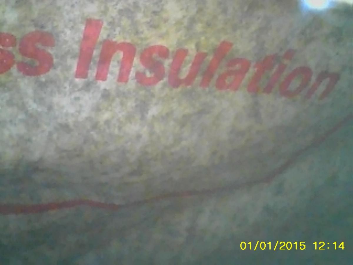 Black speckled pattern on faced insulation behind shower. Mold?-dcim0047.jpg