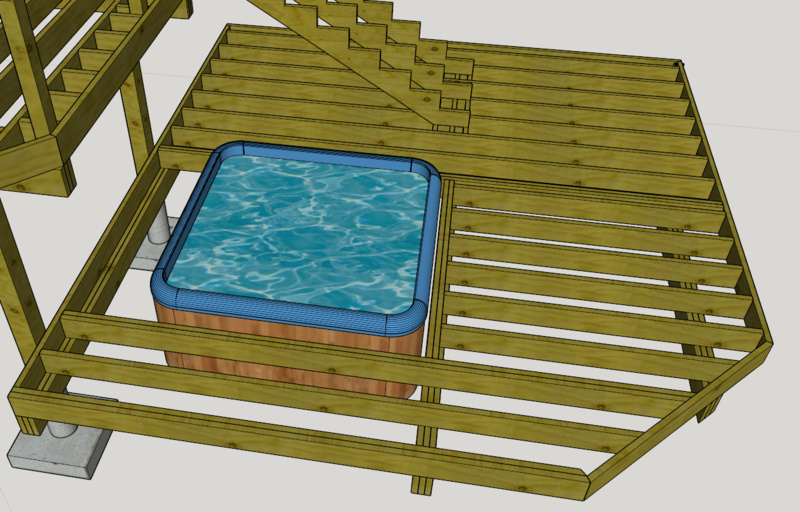 freestanding deck optimal placement of posts and support for stairs deck_framing_hottub_rotatedjpg