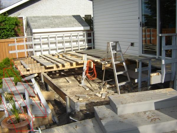 hanging deck stairs on a cantilever building construction