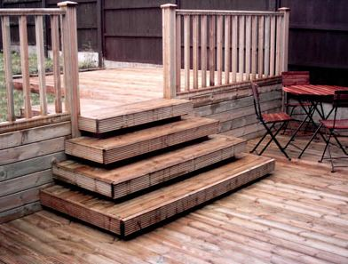How to build deck stairs like this building for Basic deck building instructions