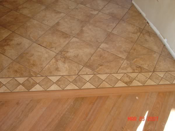 Tile To Linoleum To Tile Diagonal