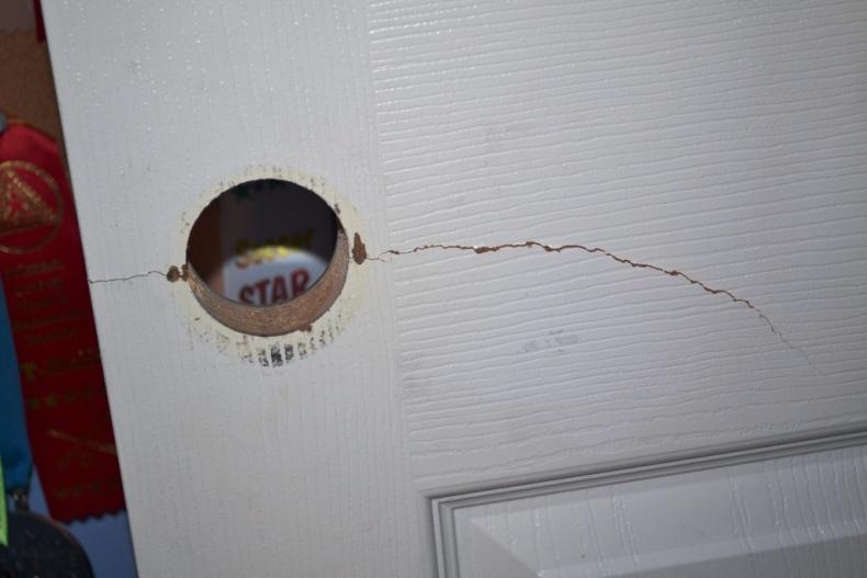 Beautiful Crack In A Six Panel Door. How Do I Fix It? Door.