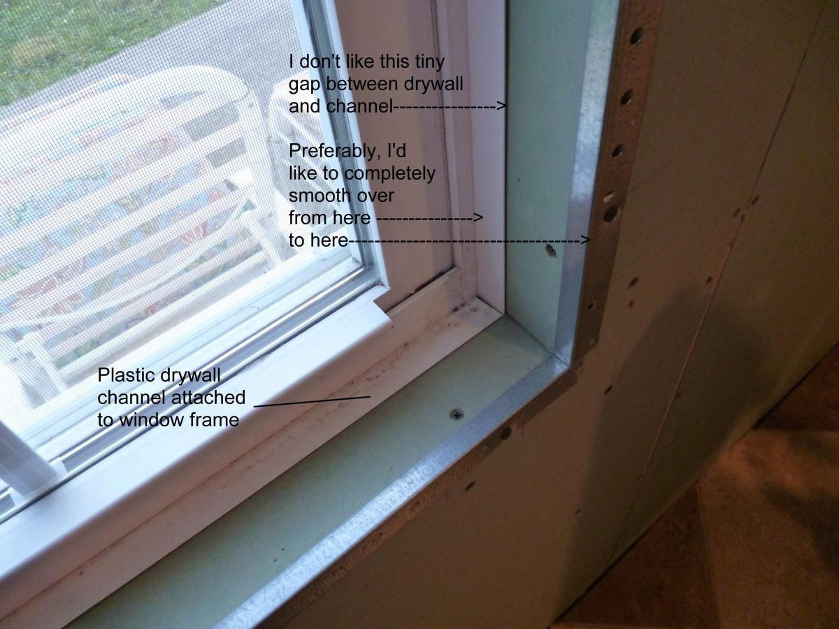 Finishing drywall around window that has channel drywall for Drywall around windows