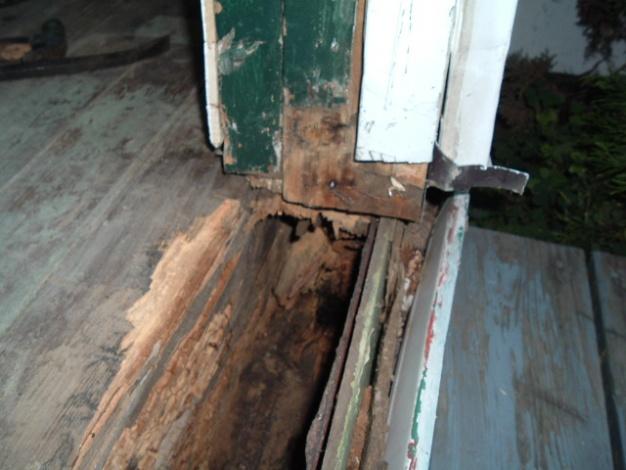Help how do i fix rotten wood under door building - Repairing wood rot on exterior door ...