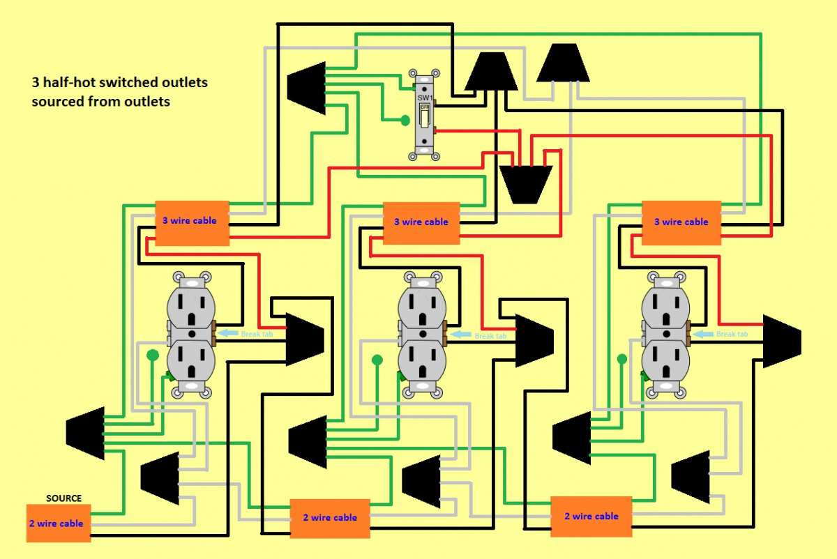 3 Half Hot Outlets / 1 Switch - Electrical - DIY Chatroom ... Half Switched Outlet Wiring Diagram In Series on