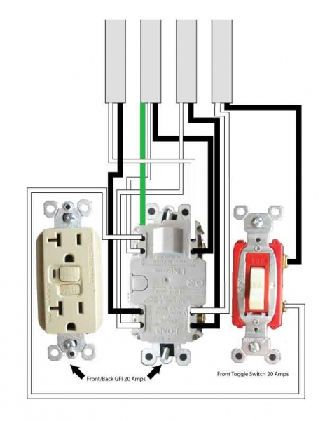 One 20 Amp Gfci One 20 Amp Toggle Switch To Four 14 2 Romex Wires In A Double Gang Diy Home Improvement Forum