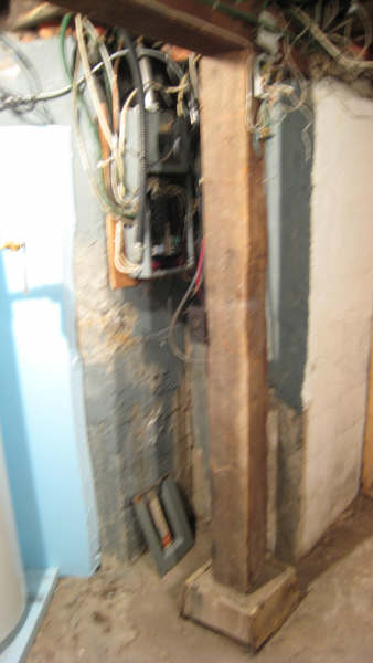 Temporarily remove basement support post-electrics-post.jpg