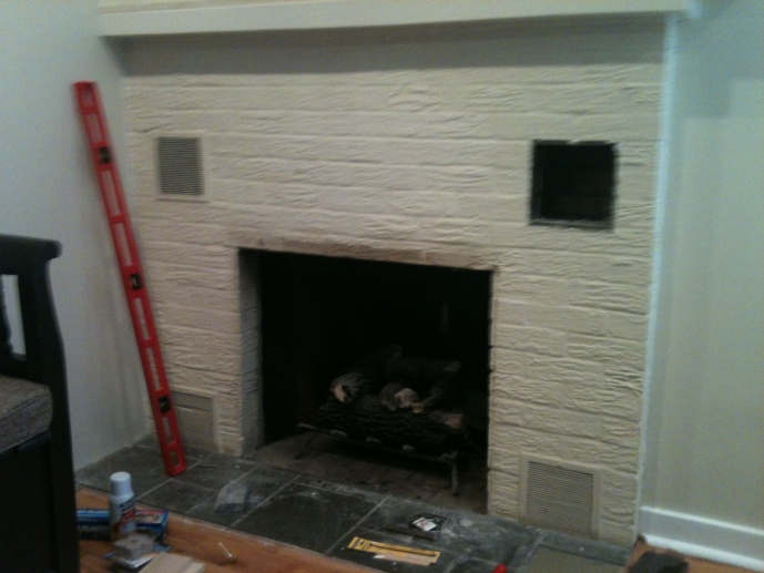 Tile and wood over painted brick fireplace concrete - Covering brick fireplace with tile ...