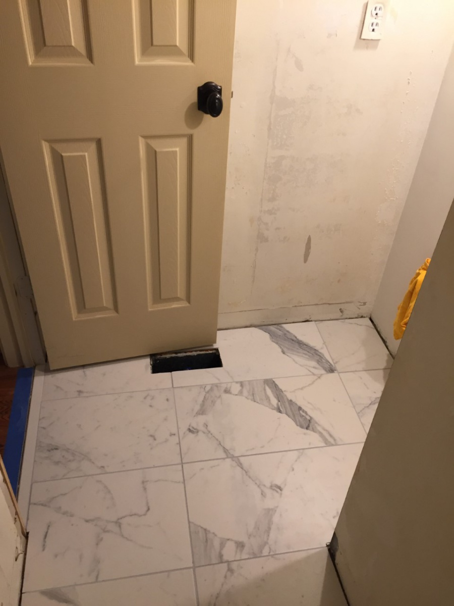 Tile Layout Small L Shaped Powder Room Kitchen Bath Remodeling
