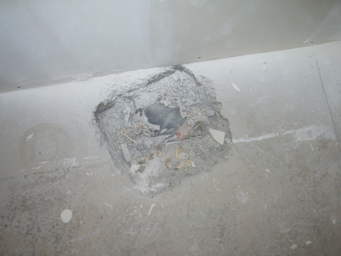 Shower Drain Plumbing to very roughed in pipe-floor.jpg
