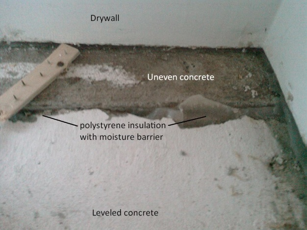 Two Diffe Concrete Heights, How To Install Laminate Flooring On Slab