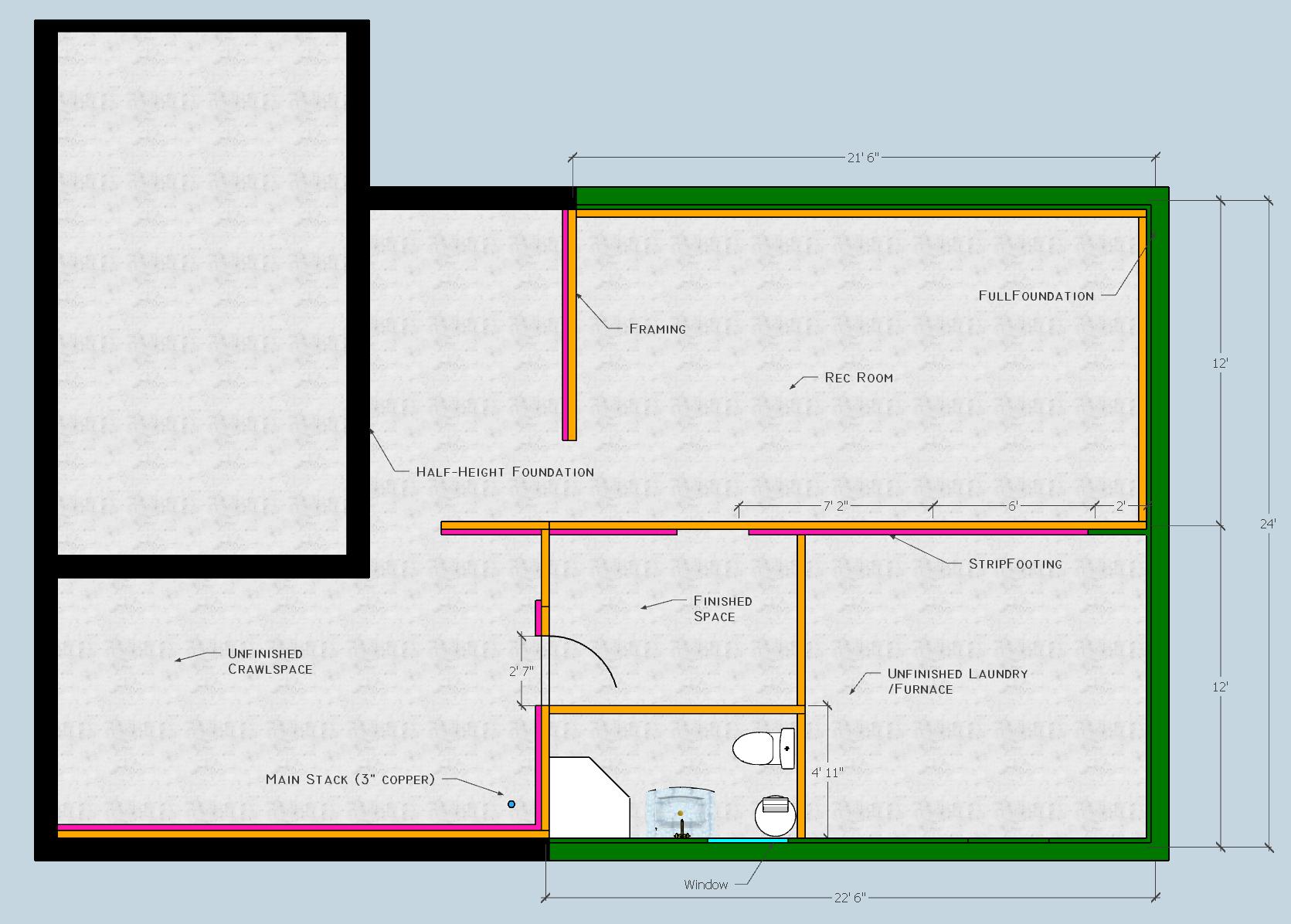 Adding Bathroom To Unfinished Basement - General DIY ...