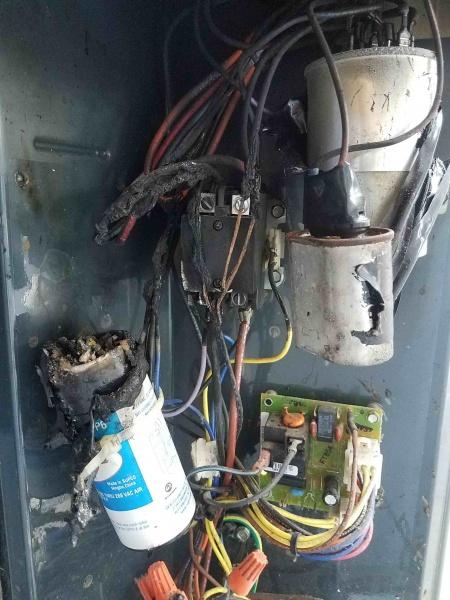 trane xb10 hard start capacitor started on fire hvac. Black Bedroom Furniture Sets. Home Design Ideas