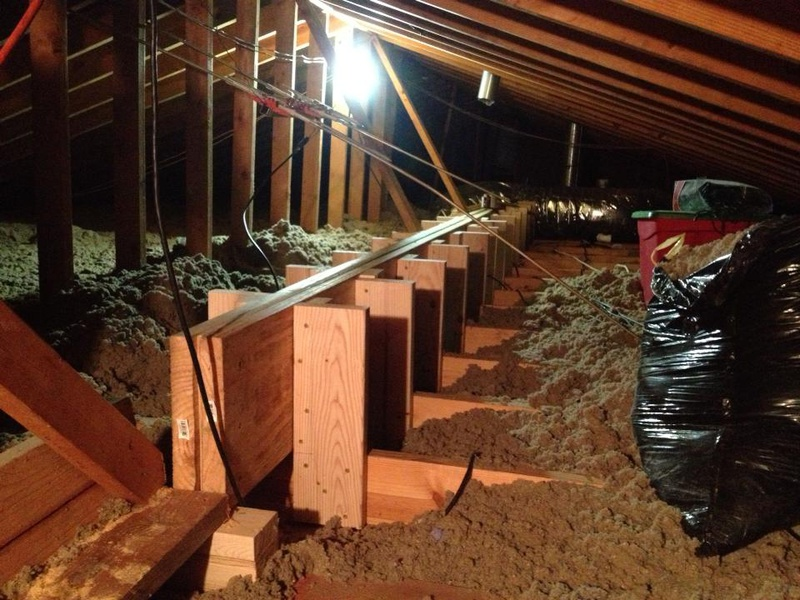 Installing Blind Beam In Attic To Support Sagging Ceiling