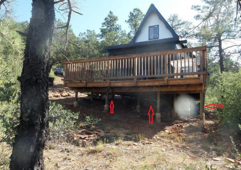 Leaning concrete piers building construction diy for Building a house on concrete piers