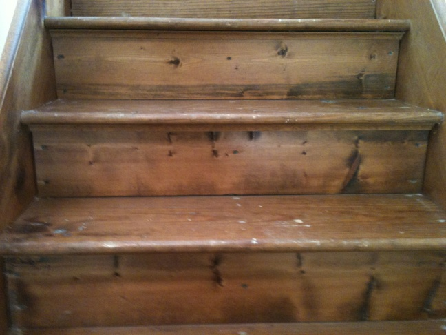 ... Patching And Sanding Pine Stairs House2 004
