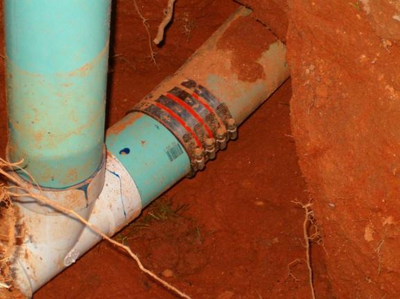 """Tapping an existing 4"""" PVC yard drain-hpim0937.jpg"""